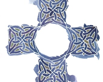 Custom Celtic Cross in Your Choice of colors, 12x12 orig painting w/ personalization
