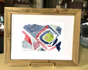 Minnesota Twins Target Field in Minneapolis, giclee print from original watercolor painting, 8x10