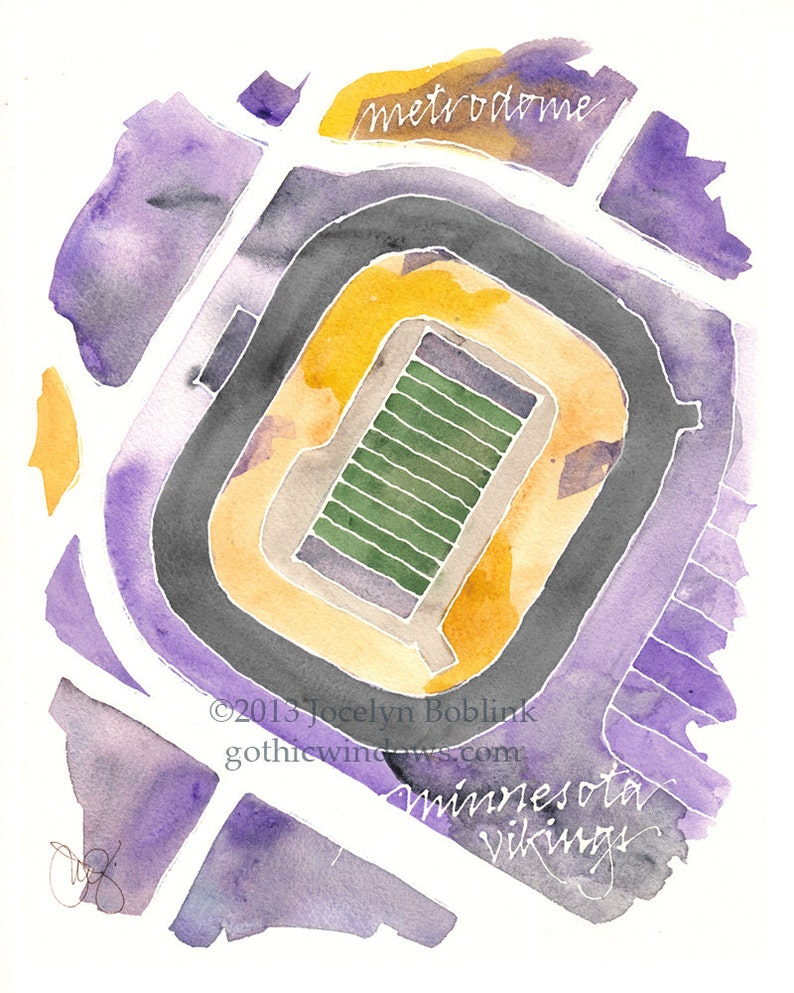 CUSTOM Football Stadium Watercolor Map of Your Favorite Field image 0