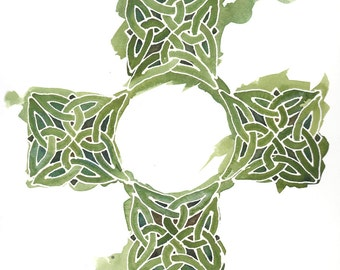 Celtic Cross in Emerald Green, 8x10 inch giclee print from original watercolor