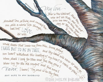 Robert Browning poem, Any Wife to Any Husband, 8x10 in print from original watercolor calligraphy