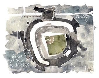 White Sox Park, Chicago, signed giclee print from original watercolor painting, 8x10