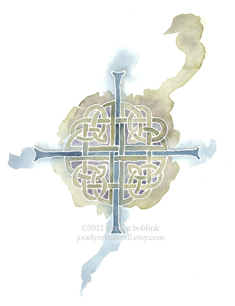 Celtic Cross in Sage and Blue 8x10 inch giclee print from image 0