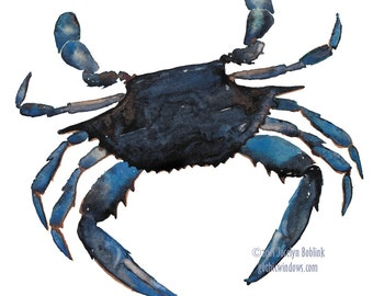 Maryland Blue Crab, giclee print from original watercolor painting, 8x10