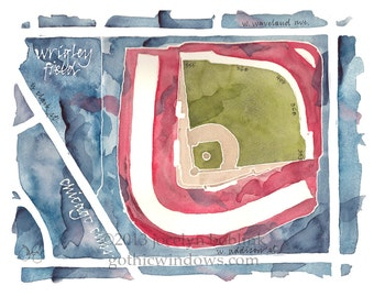 Wrigley Field, home of the World Series Champion Chicago Cubs, print from original watercolor painting, 8x10