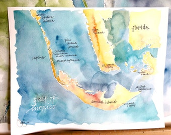 """CUSTOM Watercolor Map of Your Favorite Lake, Bay, or Island, with Personalized Calligraphy 9x12"""" or 11x14"""""""