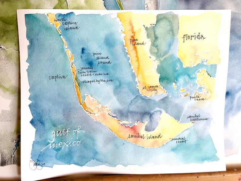 CUSTOM Watercolor Map of Your Favorite Lake Bay or Island image 0