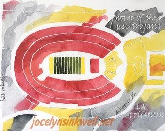 USC Trojan Football LA Coliseum, California, 8x10 giclee print from original watercolor painting