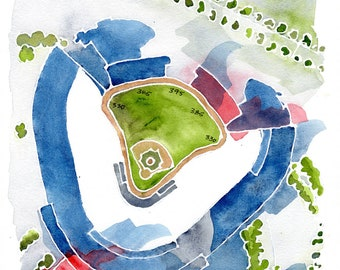"""Dodger Stadium, Los Angeles, home of the Dodgers. 8x10"""" signed giclee print from original watercolor painting"""