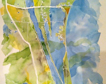 """Grand Scale, CUSTOM Watercolor Map of Your Lake, Island, or Beach 16x20"""" or 18x24"""" or 22x30"""""""