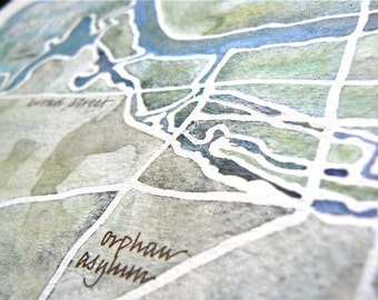 Personalized Watercolor Map of your historic, vintage, or home town, in calligraphy 9x12 or 11x14