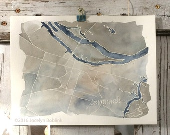 """Savannah, Georgia, watercolor map, signed, original painting with calligraphy 9 x 12"""""""