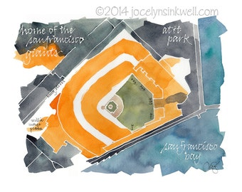Giants San Francisco AT&T Park, giclee print from original watercolor painting, 8x10