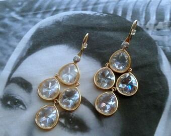 Henri Bendel signed RARE Inverted Faceted Crystal Chandelier Dangle Pierced Earrings