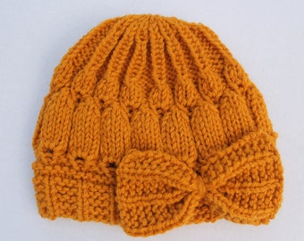 Hand Knit Mustard Baby Bow Hat 04a33ffcba4