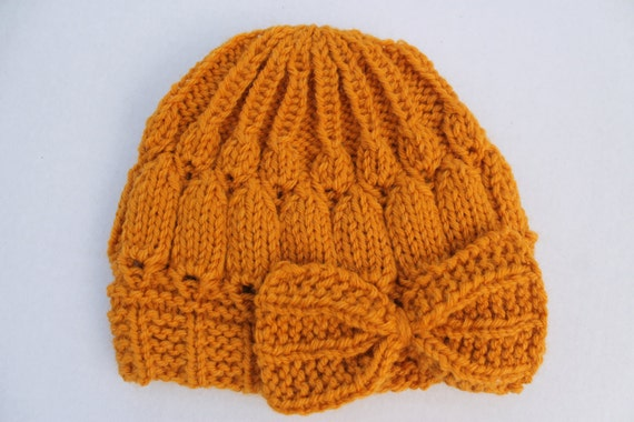 Clearance. Hand Knit Mustard Baby Bow Hat Knit Baby Hat Knit  391142c4daf
