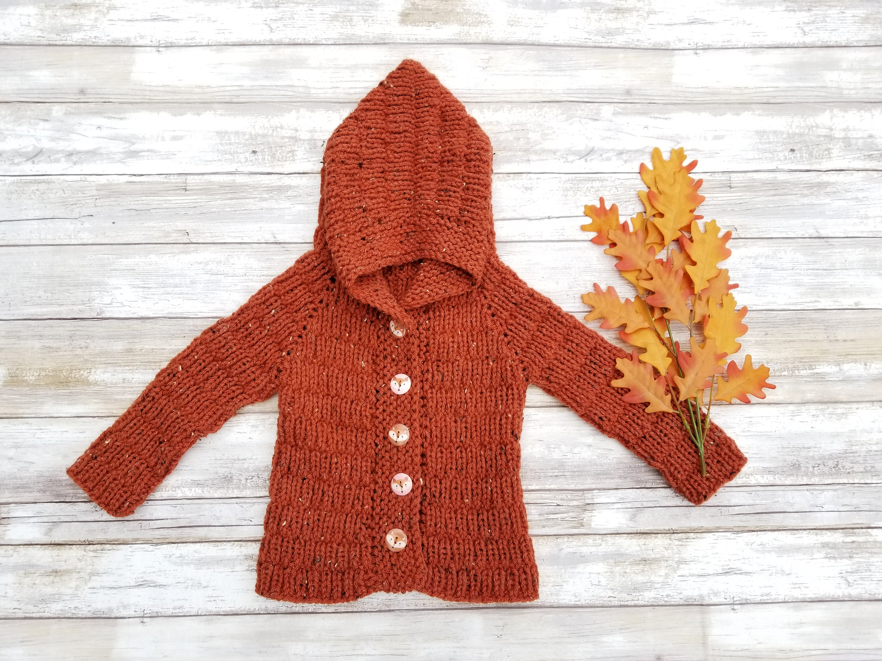 c6ebbe133842 Hand Knit Baby Jacket. Copper Tweed Hooded Baby Jacket. Baby