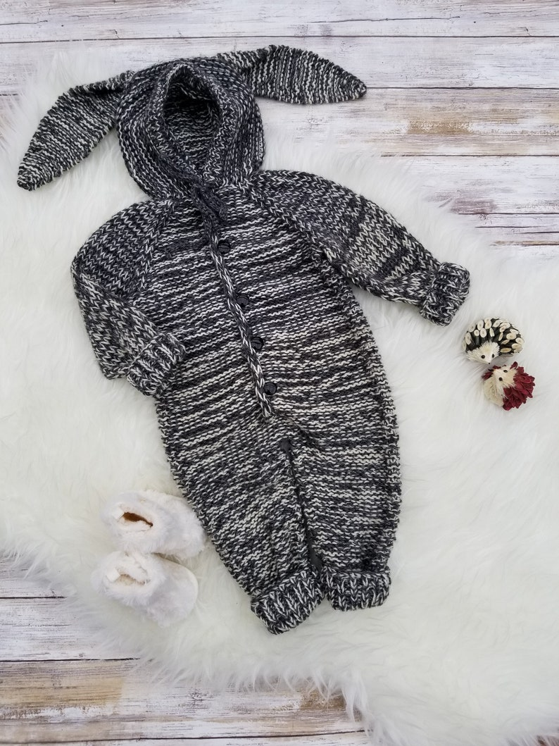 Clearance Hand Knit Baby Overalls Baby Girl Bunny Overalls Bunny Overalls Hooded romper. Baby Boy Bunny Overalls Unisex Baby Overalls