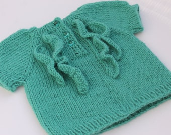 Sleeveless Baby Girl Top. Hand Knit Teal Girl Top. Sleeveless Baby Sweater. 3 months