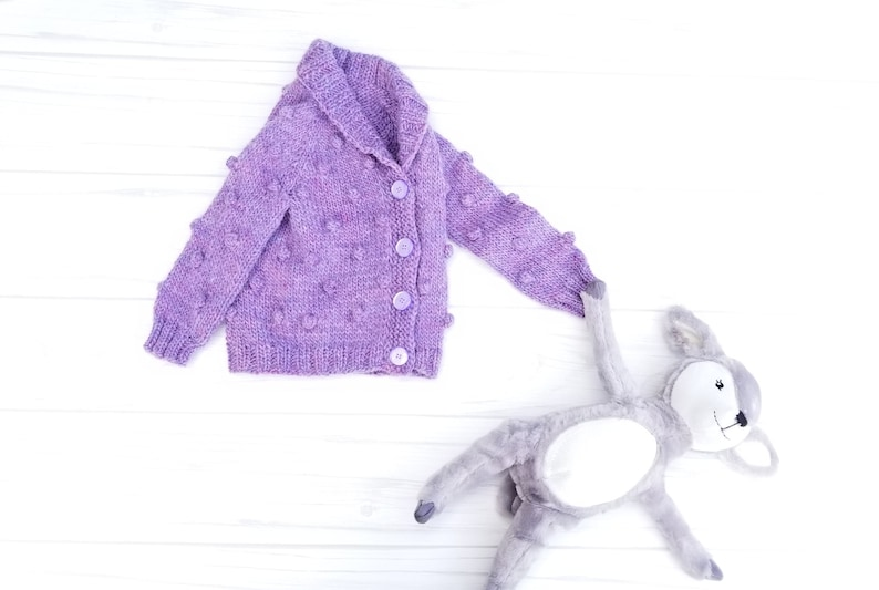 Popcorn Baby Cardigan Wool Baby Sweater. Purple Baby Cardigan Hand Knit Baby Girl Cardigan