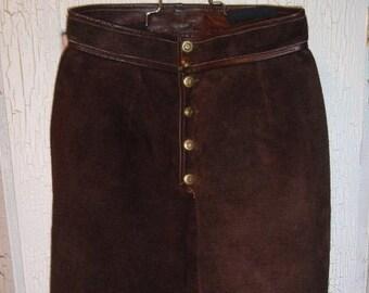 715012de62 Vintage 1970s Chocolate Brown Suede skirt