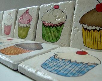 Cupcake Social   set of 4 Italian Stone coasters