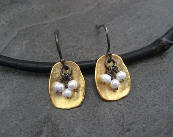 Pearl earrings, mixed metal, rectangle dangle, freshwater pearl, bead cluster, oxidized silver, gold, organic drop
