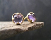 Amethyst stud earrings, rose cut cabochons, faceted amethyst, prong setting, round studs, February birthstone, gold and amethyst