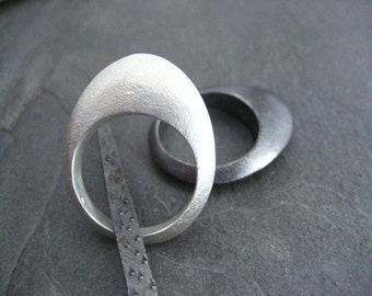 Egg ring, sterling silver ring, oval ring, egg shaped, solid silver, rounded band, heavy ring, lightly oxidized, curved band, statement ring