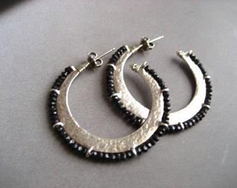 Sterling silver hoop with black garnet