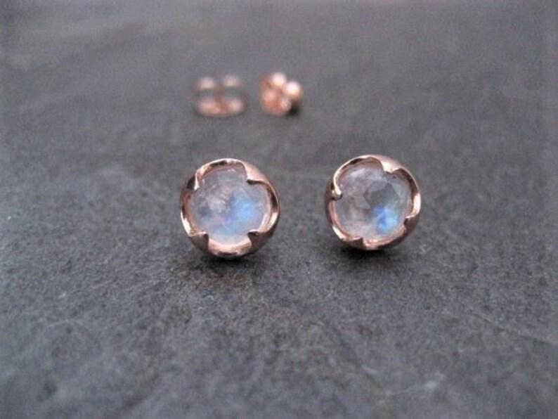 c49788311462f3 Moonstone studs 14k rose gold rose cut jewelry rainbow | Etsy