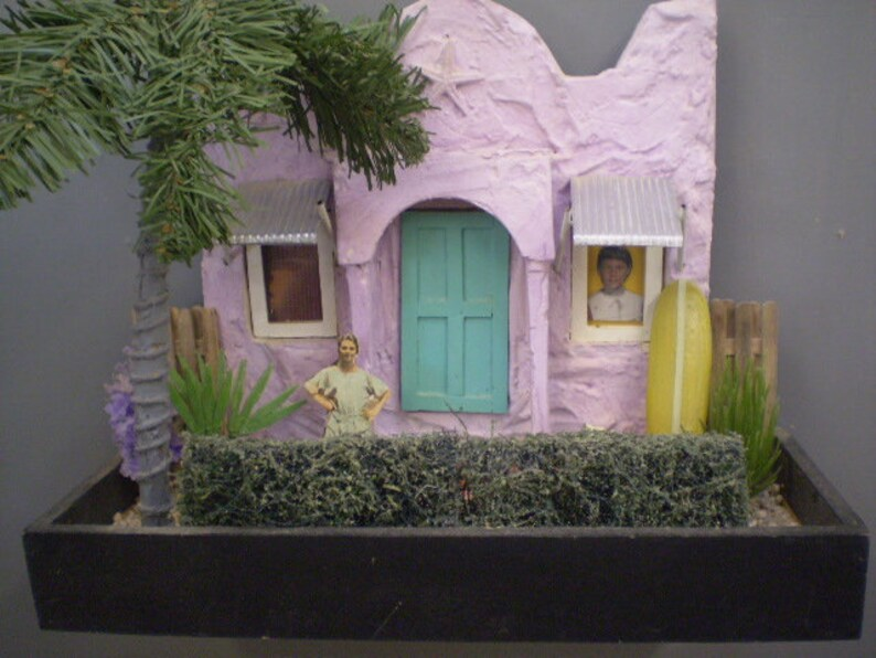 Scale Model Diorama Lavender Stucco Cottage With Silver Etsy