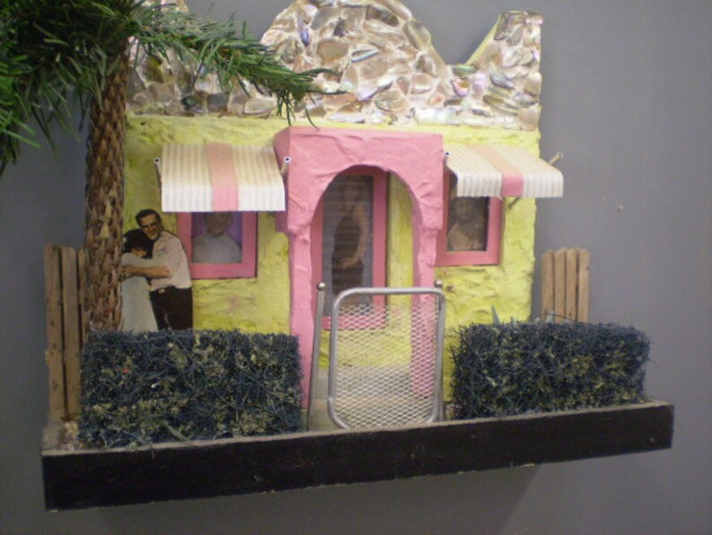 Scale Model Diorama Tropical Stucco Cottage With Abalone Etsy