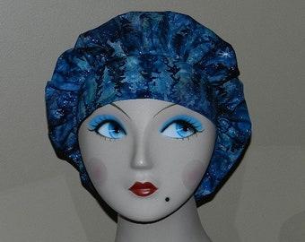 Magical Winter Batik with Silver  Bouffant Surgical Cap Bakers Cap/ChefCap/Anesthesist Cap/Vet Scrub hat/OR/RN Scrub Cap/Dental Scrub Cap