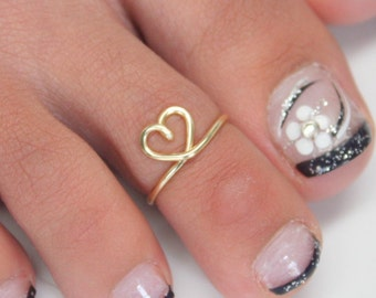 Heart Toe Ring, Heart Ring, Stacking Ring, Toe Rings