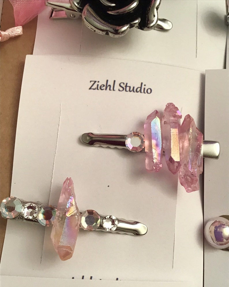 Set of 2 Bohemian crystal hair clips with  pink angel aura crystals on silver alligator clips