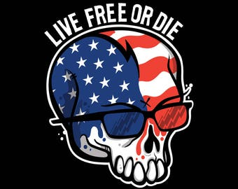 Live Free or Die American Flag Face Skull T-Shirt