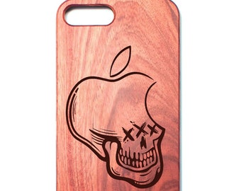 """Rosewood Apple iPhone Case with Hackintosh """"Ghost Hacker"""" Laser Engraved Design [iPhone 5, iPhone 6, iPhone 6 Plus, iPhone 7 iPhone 7 plus]"""