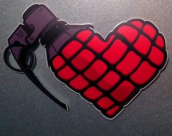 Love Bomb - Full Color Heart Grenade Vinyl Decal / Sticker
