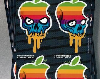 Hackintosh Apple Skull Logo Custom Mash Up  Macbook iPhone Laser Printed Stickers - Deluxe Full Sheet (4 Decals Per Set)