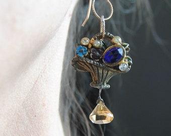 Sweet Little Flower Baskets--Vintage Cobalt Blue Rhinestone Citrine Briollette Gold Filled Link Chain EARRINGS