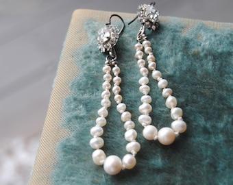 PENELOPE--Vintage Art Deco Rhinestones Hand Knotted Freshwater Pearl Hoop EARRINGS