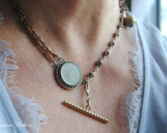 Covent Compass T-Bar Necklace---Antique Silver Compass Toggle Bar Vintage Bell Gold Tone Watch Chain NECKLACE