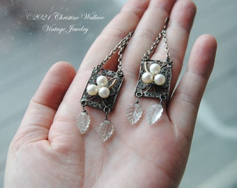 Pearls And Leaves--Antique Silver Filigree Links Silver Link Chain Carved Aquamarine Gemstone Leaves Gold Filled Pearl Cluster EARRINGS