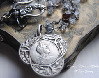 COURAGE Talisman--Antique French Signed Patria Medal Sterling Herkimer Diamond Garnet Amethyst Peridot Gemstone Link NECKLACE