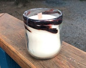 Handmade Blown Glass One of a Kind with a Dark Red Wisps of Color with soy wax Candle with Wooden Wick