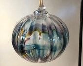 Blown glass ball, float witches, friendship or tidal ball. Handmade, swirl of colours including Blues & Turquoise