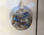 Blown glass ball, float witches, friendship or tidal ball. Handmade, swirl of colours including Blues