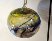 Blown glass ball, float witches, friendship or tidal ball. Handmade, swirl of colours including Yellow with Blue