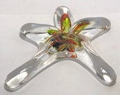Yellow & Red Blown Glass Sea Star. This organic shape is handmade adding sparkle n' shine to your beach home decor!